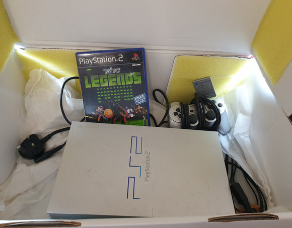 Sony Playstation 2 (PS2) Silver Console SCPH 50003 with Memory Card & Taito Legends in Custom Made Gift Box