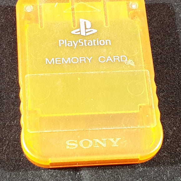 Official Playstation 1 (PS1) Crystal Orange Memory Card Accessory