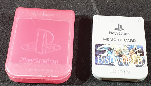 Official Sony Playstation 1 (PS1) Memory Card with Disc World Sticker SCPH 1020 in Case Accessory