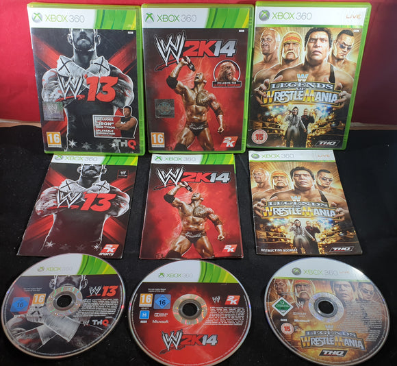 WWE 13, 2K14 & Legends of Wrestlemania Microsoft Xbox 360 Game Bundle