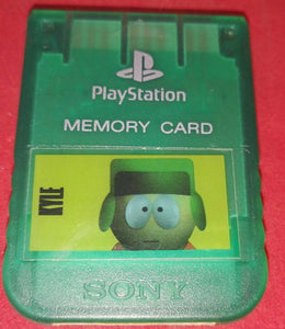Official Playstation 1 (PS1) Crystal Green Memory Card with South Park Sticker Accessory