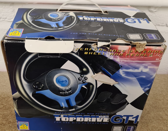 Boxed Logic3 Topdrive GT1 Racing Wheel Sony Playstation 2 (PS2) Accessory