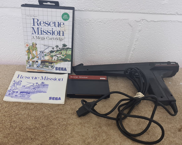 Rescue Mission with Light Phaser Sega Master System Game & Accessory