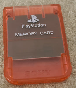Clear Red Official Memory Card Sony Playstation 1 (PS1) Accessory