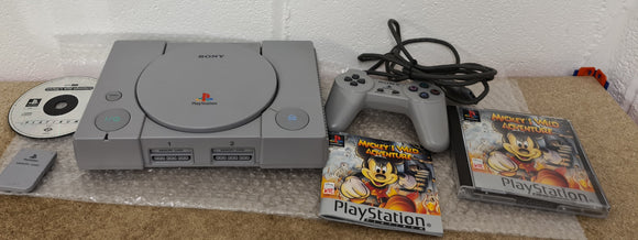 Sony Playstation 1 (PS1) SCPH 7502 Console with Official Memory Card & Mickeys Wild Adventure in Custom Made Box