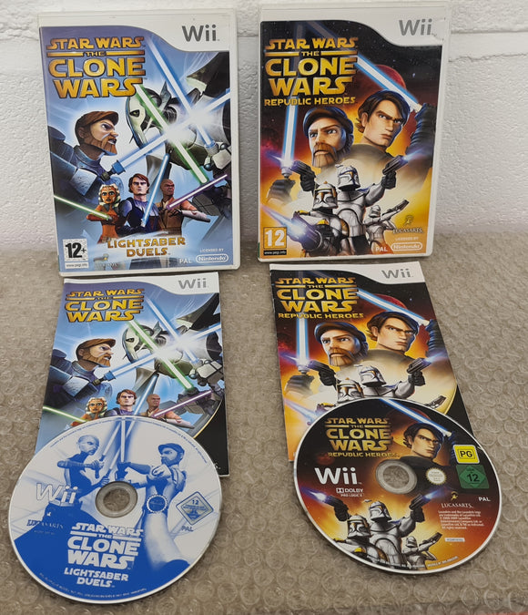 Star Wars Clone Wars Republic Heroes & Lightsaber Duels Nintendo Wii Game Bundle