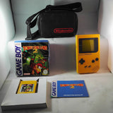 Original Yellow (Nintendo Gameboy) console, official carry case & Donkey Kong Land 2