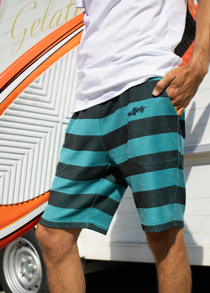 Nuffinz Shorts Organic Cotton The Deep Jungle Striped Close up