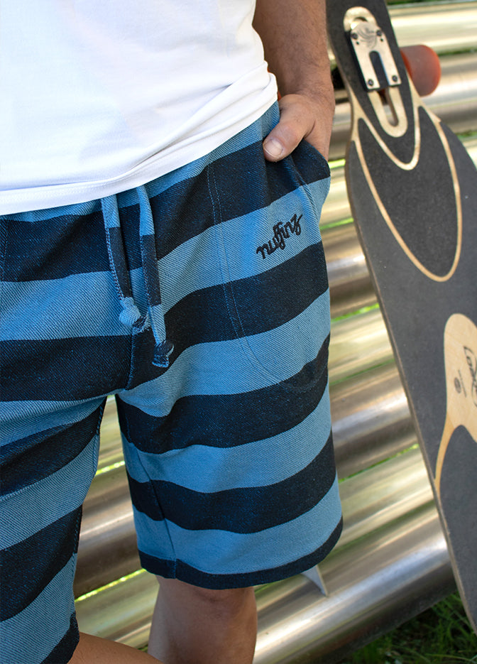 Nuffinz Shorts Organic Cotton The Bluesteel Striped Close Up