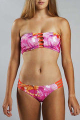 Strappy Bandeau Top - CORAL HIBISCUS