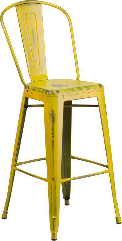 Surprising Butter Yelllow Antique Weathered Tolix Bar Stool High Back Gmtry Best Dining Table And Chair Ideas Images Gmtryco