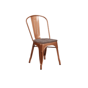 Copper Finish Dark Wood Seat Tolix Chair
