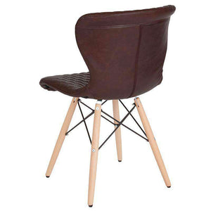 Riverway Brown Vinyl Upholstered Chair Natural Wooden Legs