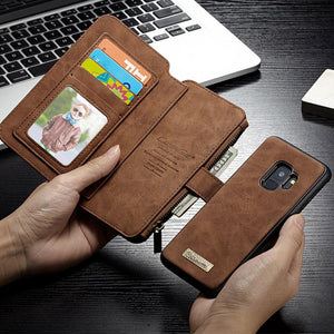 Zipper Wallet Card Flip Case For Samsung Galaxy S9 Coque Luxury Retro Genuine Leather Cover Cases For Samsung S9 Case Fundas