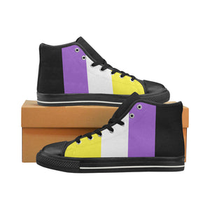 High-Top Sneakers - Non-Binary Flag Vertical