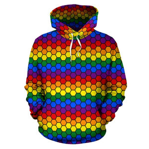 All Over Hoodie - Lgbt Honeycomb