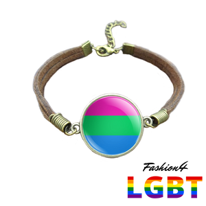 Bracelet Brown Leather - 18 Flags Polysexual