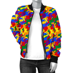 Women's Bomber Jacket - LGBT Camouflage