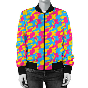 Women's Bomber Jacket - Pansexual Camouflage