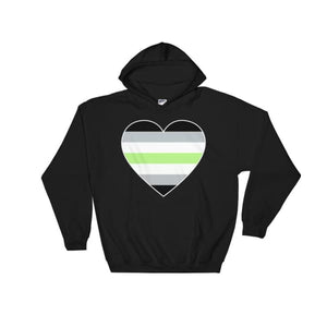 Hooded Sweatshirt - Agender Big Heart Black / S