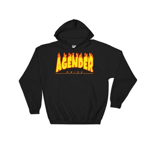 Hooded Sweatshirt - Agender Flames Black / S