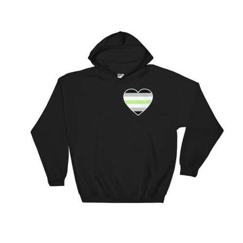 Hooded Sweatshirt - Agender Heart Black / S