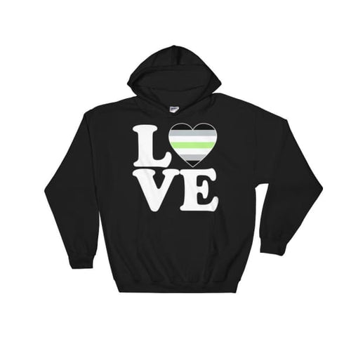 Hooded Sweatshirt - Agender Love & Heart Black / S