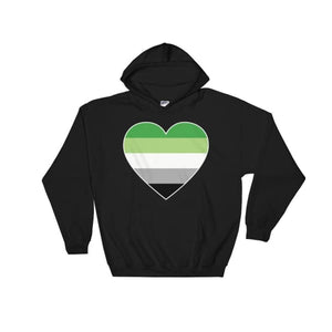 Hooded Sweatshirt - Aromantic Big Heart Black / S