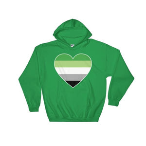 Hooded Sweatshirt - Aromantic Big Heart Irish Green / S
