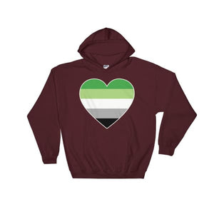 Hooded Sweatshirt - Aromantic Big Heart Maroon / S