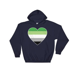 Hooded Sweatshirt - Aromantic Big Heart Navy / S