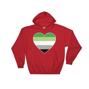 Hooded Sweatshirt - Aromantic Big Heart Red / S