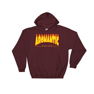 Hooded Sweatshirt - Aromantic Flames Maroon / S