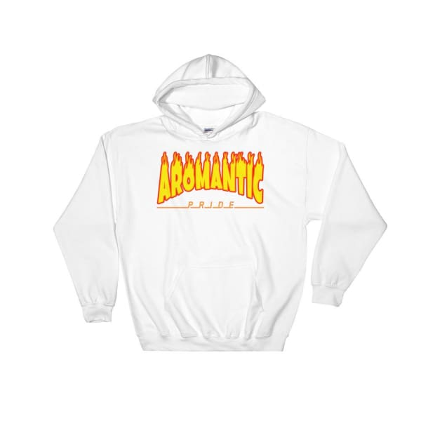 Hooded Sweatshirt - Aromantic Flames White / S