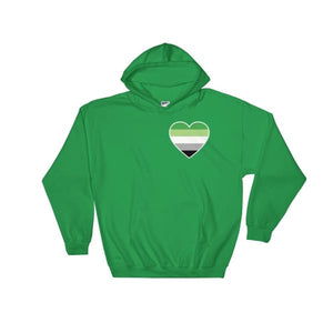 Hooded Sweatshirt - Aromantic Heart Irish Green / S