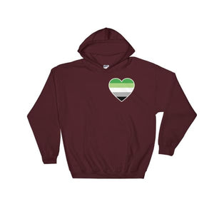 Hooded Sweatshirt - Aromantic Heart Maroon / S