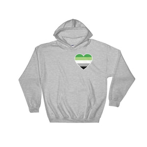 Hooded Sweatshirt - Aromantic Heart Sport Grey / S