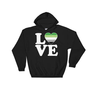 Hooded Sweatshirt - Aromantic Love & Heart Black / S