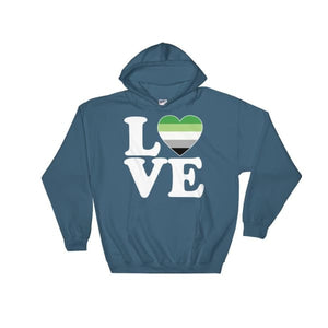 Hooded Sweatshirt - Aromantic Love & Heart Indigo Blue / S