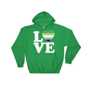 Hooded Sweatshirt - Aromantic Love & Heart Irish Green / S