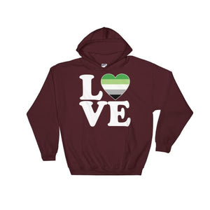 Hooded Sweatshirt - Aromantic Love & Heart Maroon / S