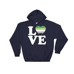 Hooded Sweatshirt - Aromantic Love & Heart Navy / S