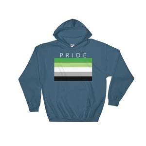Hooded Sweatshirt - Aromantic Pride Indigo Blue / S