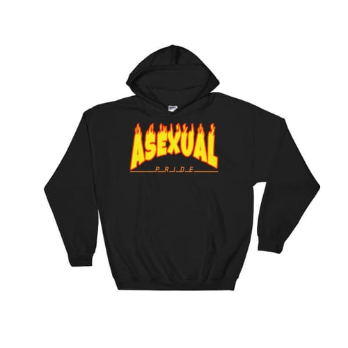Hooded Sweatshirt - Asexual Flames Black / S