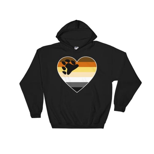 Hooded Sweatshirt - Bear Pride Big Heart Black / S