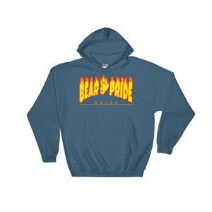 Hooded Sweatshirt - Bear Pride Flames Indigo Blue / S