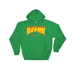 Hooded Sweatshirt - Bear Pride Flames Irish Green / S
