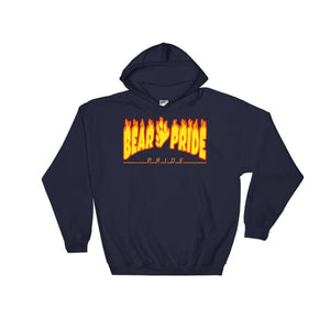 Hooded Sweatshirt - Bear Pride Flames Navy / S