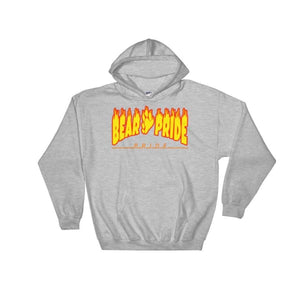 Hooded Sweatshirt - Bear Pride Flames Sport Grey / S