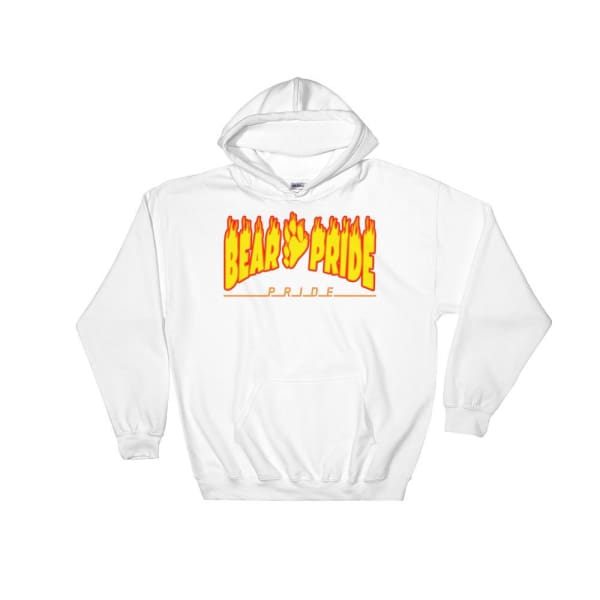 Hooded Sweatshirt - Bear Pride Flames White / S